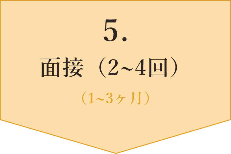 5、面接(2~4回)、1~3ヶ月